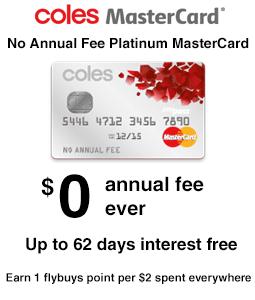 Coles No Annual Fee Platinum MasterCard