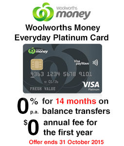 Woolworths Money Everyday Platinum Credit Card
